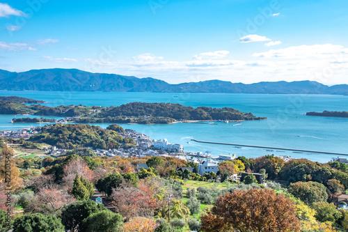 瀬戸内海の美しい景色とオリーブ畑・岡山県瀬戸内市牛窓町 Beautiful view of Setonaikai, Inland Sea of Japan, and an olive grove in Ushimado town, Setouchi city, Okayama pref Poster Mural XXL