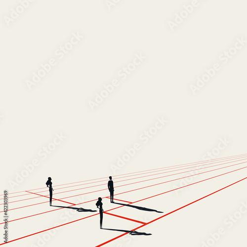 Business discrimination vector concept. Woman at disadvantage. Symbol of inequality. Minimal illustration.