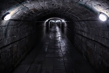 Castle Tunnel View, Gloomy Underground Passage Perspective, Old European Castle, Abstract View
