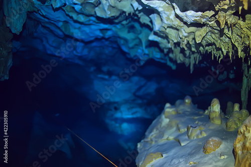 Fototapeta underwater cave stalactites landscape, cave diving, yucatan mexico, view in cenote under water obraz