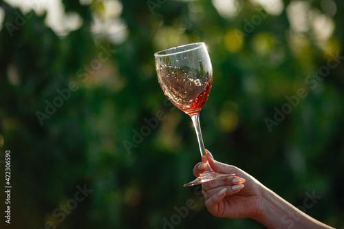 Fototapeta Vintner woman tasting red wine from a glass in a vineyard obraz na płótnie
