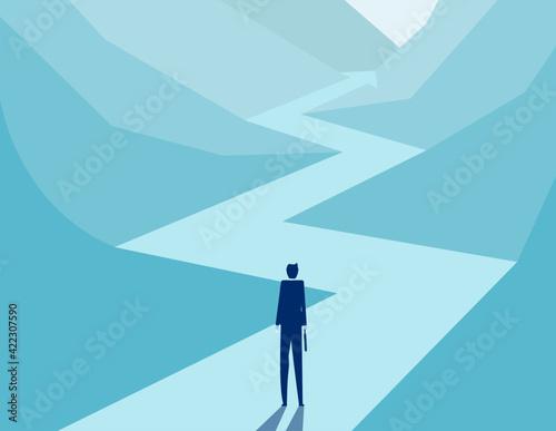 Fototapeta A Business person looking arrow road away forward obraz
