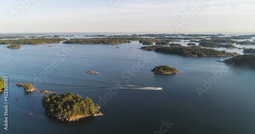 Fototapeta Boat in Archipelago summer day 01