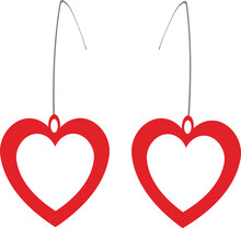 Vector Illustration Of Red Heart Shaped Earrings