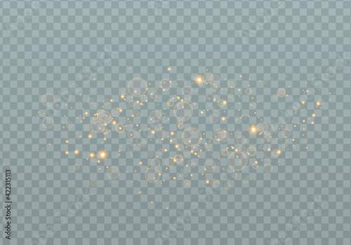 Fototapeta Golden sparks glitter special light effect.Sparkling magic dust particles.Cosmic glittering wave on transparent background. obraz