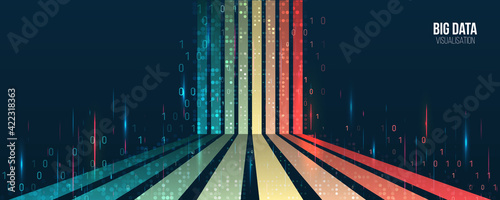 Fototapeta Big data visualization banner. Abstract background with lines array and binary code. Connection structure. Data array visual concept for website. Big data connection complex. obraz