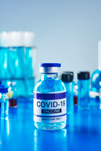 Simulated Covid-19 Vaccine On A Laboratory Table
