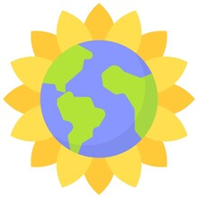 Sunflower Earth Icon, Earth Day Related Vector