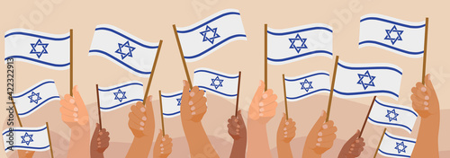 Tablou Canvas Happy Israel Independence Day banner, hands hold israel flag
