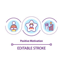 Positive Motivation Concept Icon. Reward For Good Performance Idea Thin Line Illustration. Achieving Goal And Improving Person. Vector Isolated Outline RGB Color Drawing. Editable Stroke