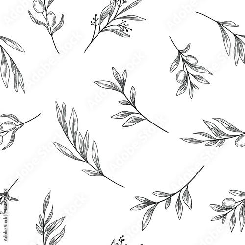 Fotografia Olive branches seamless pattern, line art