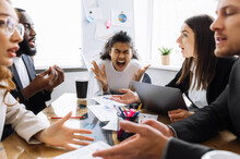 Exhausted Male And Female Employees Can't Make Agreement, Arguing. Angry Business People Having A Tense Brainstorm, African American Woman Boss Is Screaming, Feeling Frustrated