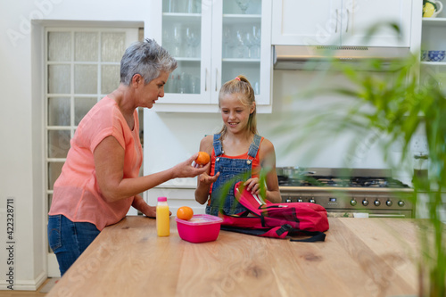 Senior caucasian grandmother giving granddaughter packed lunch and fruit in kitchen