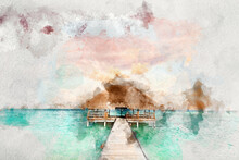 Watercolor Painting Of Wooden Jetty On Maldives