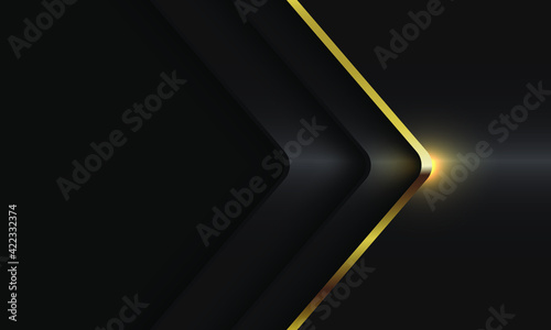 Abstract gold line arrow shadow curve direction on dark grey metallic with blank space design modern luxury futuristic background vector illustration.
