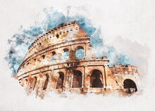 Watercolor Painting Of Colosseum In Rome, Italy