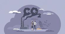 CO2 Emissions As Dangerous Carbon Dioxide Air Pollution Tiny Person Concept