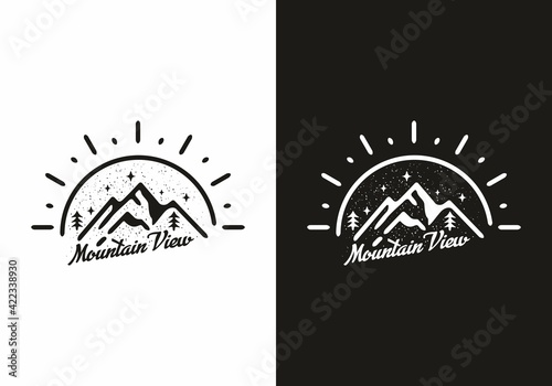 Black and white mountain view line art illustration
