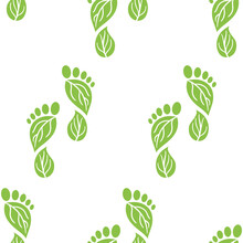 Seamless Pattern Of Carbon Footprint Icons. CO2 Ecological Footprint Symbols With Green Leaves. Greenhouse Gas Emission. Environmental And Climate Change Concept