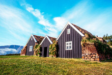 Beautiful Landscape With Traditional Wooden Housing With Moss-covered Roofs In Museum In Holar, Iceland. Exotic Countries. Amazing Places.