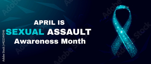 Fototapeta Sexsual assault awareness day concept. Banner template with glowing low poly. Futuristic modern abstract. Isolated on dark background. Vector illustration. obraz