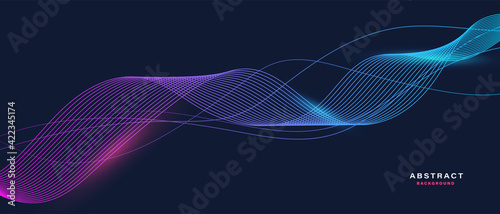 Fototapeta Abstract background with flowing particles. Dynamic waves. vector illustration.	  obraz