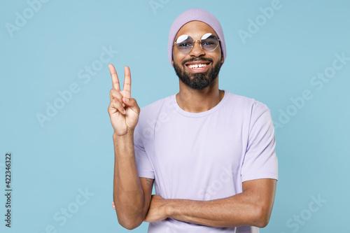Fotografie, Obraz Young smiling happy positive student fun unshaven black dark-skinned african man