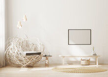 Blank Horizontal Frame Mock Up On Wall In Modern Living Room Interior Background In Light Beige Tones, 3d Rendering