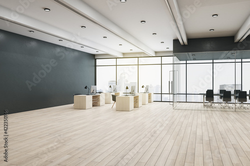 Obraz Spacious coworking office with huge window with city view, wooden floor and furniture and conference room with glass walls - fototapety do salonu