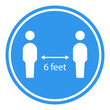 6 feet apart distance sign. Clipart image