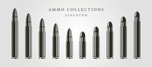 Set Of Bullets Ammunition Object Vector Isolated Illustration Designs, Vintage Bullet Designs