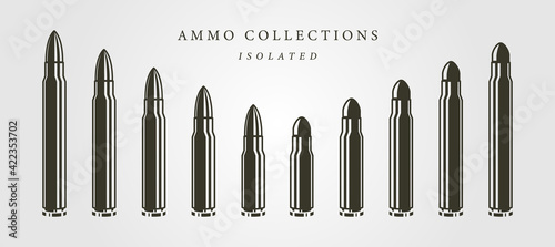 Vászonkép set of bullets ammunition object vector isolated illustration designs, vintage b