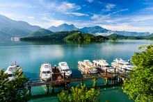Yachts Marina At Sun Moon Lake In The Morning, The Famous Attraction In Taiwan, Asia.