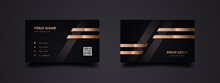 Modern And Elegant Business Card Design Template. Vector Sophisticated Background With Dark Black And Golden Line. Ready To Print.