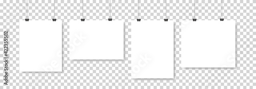 Fotografie, Obraz Set of four white realistic blank paper pages with shadow
