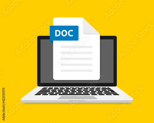 Fotografie, Obraz DOC icon file with label on laptop screen