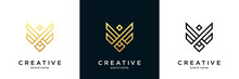 Creative Flying Shield Vector Logo Symbol. Luxury Abstract Letter V Premium Victory Logotype.