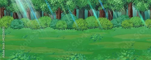 Fotografia 森と草原の風景イラスト_木漏れ日_横スクロールゲームの背景_シームレス