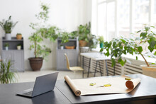 Background Image Of Empty Office Interior Decorated With Green Plants, Florists Workplace Concept, Copy Space