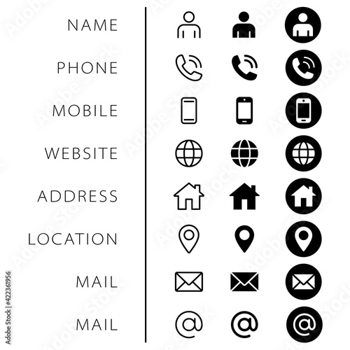 Fototapeta Company Connection business card icon set. Phone, name, website, address, location and mail logo symbol sign pack. Vector illustration image. Isolated on white background. Contact design template obraz