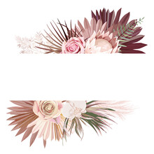 Pampas Grass, Protea, Orchid Flowers, Dry Palm Leaves Border Template For Marriage Ceremony