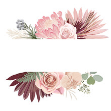 Watercolor Floral Wedding Vector Frame. Pampas Grass, Protea, Orchid Flowers, Dry Palm Leaves Border Template