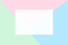 Rectangular Blank Card Made Of White Paper With A Dot Frame On Tri-color Background. To Create Presentations.