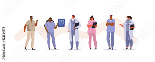 Diverse Medical Staff Portraits. Smiling Male and Female Doctors and Nurses wearing Uniform. Professional Healthcare Team at Work. Medical Characters Set. Flat Cartoon Vector Illustration.