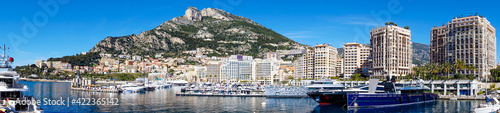 panorama view of the harbor of Cape d'Ail and hotels in the Fontvielle District of Monaco