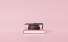 Graduation Cap And Book Education Concept. Pink Background For Banner Website Application Page Template. 3d Rendering