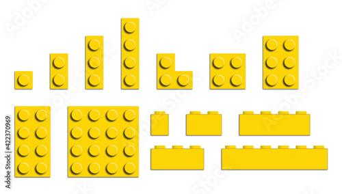 Stampa su Tela Set of building bricks in yellow color