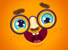 Vector Illustration Of Cute Face For April Fools Day.