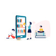 E-Library Vector Illustration concept. Flat illustration isolated on white background.