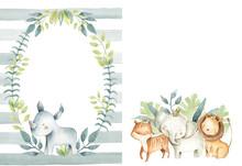 Safari Animals Illustration  Invitation Template Frame Elephant Lion Tiger